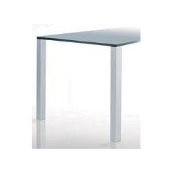 Pied de table carré, alu & cannelé.