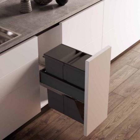 Poubelle monobac grande capacité pour meuble de 300mm