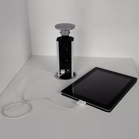 Bloc prise encastrable avec USB diamètre 80mm