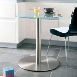 Platine pour plateau verre pied de table central rond acier