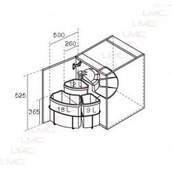 Schéma technique Poubelle rotative à tri sélectif pour meuble d'angle
