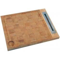 Billot à encastrer en bois debout avec fente et rigole.